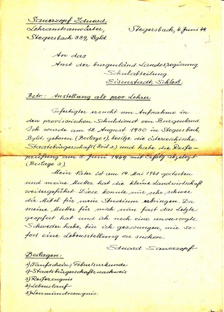 ansuchen lehrerstelle 1949